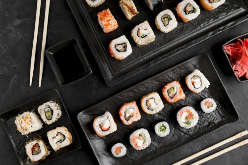 flat-lay-delicious-sushi